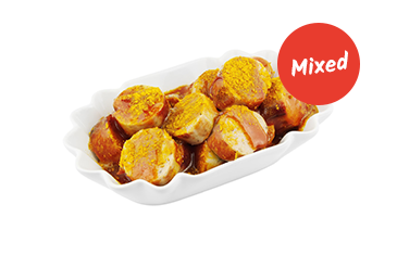 Mix Currywurst (Grill- und weiße Bratwurst gemischt)