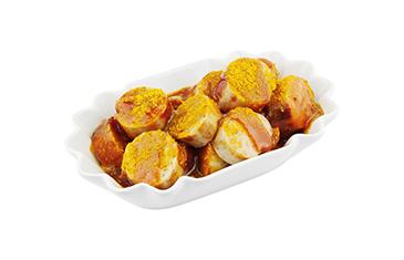 Weiße Currywurst (mit Pommes)